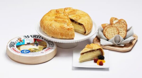 Baked Brie Wheel with French Bread & Crackers